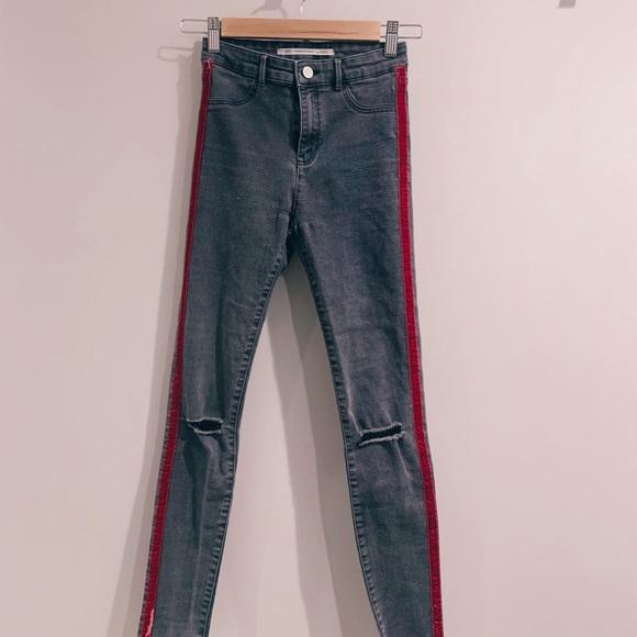 ZARA - High Waist Skinny Jean W Velvet Stripes.